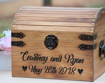 Rustic Wood Card Box - Large Card Box - Wedding Cards - Laser Engraved Wedding Card Box - Anniversary Card Box - Graduation Card Box