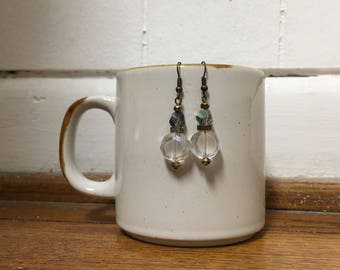 White and Iridescent Crystal Beaded Dangle Earrings