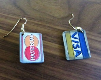 Visa and Mastercard credit card earrings made in 1993 - old timey credit card look - hand painted on wood dangle earrings.