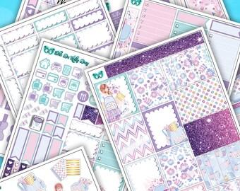 Feminine Sweet Back To School Weekly Sticker Kit // 6 Page Planner Stickers + Deco Stickers // Erin Condren, Happy Planner