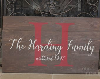Monogram Sign, Personalized Family Sign, Wooden Family Sign, Wedding Gift, Anniversary Gift, Family Sign, Customized Monogram Sign