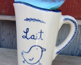 Milk jug for milk bag perfect for the long breakfast (keeps the milk fresh) with blue bird