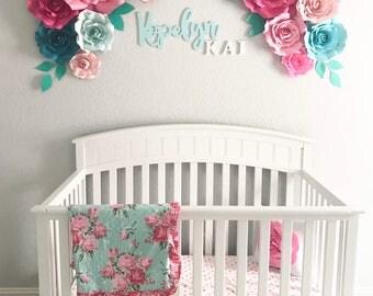 Paper wall flower arrangement - floral nursery - large paper flowers - floral nursery wall decor - flowers for nursery - 3D wall flowers