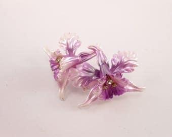 deadstock 1950's brooch purple orchid flower glitzomatic glitz-o-matic