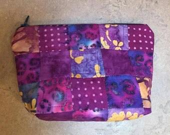Batik Patchwork Plum Quilted Zippered Pouchie