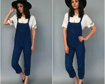 1980s babydoll denim overalls - size xs