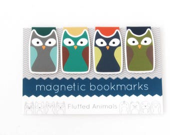 Owl Bookmarks - Magnetic Bookmark Set of 4 - Four Different Owls - Gift for Book Lovers - Gifts for Her - Teen Gift - Woodland Animals