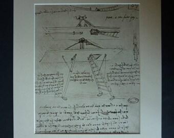 Vintage Leonardo da Vinci Illustration of a Study of Ideas for a Flying Machine