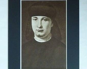 1960s Vintage Matted Sepia Lombardy Renaissance Portrait Print of Girolamo Casio by Giovanni Antonio Boltraffio