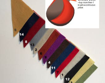 """1/4 Yard 100% Virgin Merino Wool Felt 36""""Wide X @ 3MM Thick Cut to order Choose from many colors. Buy more than one for a continuous cut."""