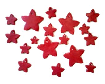 Star Christmas tags, ceramic Christmas tag, decorative gift tags, holiday gift tags, holiday favor tags, red Christmas tags, handmade tag