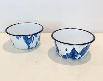 Blue Enamelware Bowls