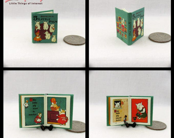 THE 5 LITTLE PIGS 1:12 Scale Book Colorful Illustrated Book  Denslow Book Market Wee Wee Home Roast Beef Fingers Toes