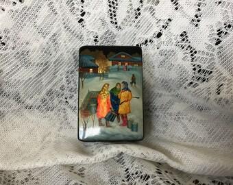 Russian Lacquerware Box - Russian Scene - 1980's
