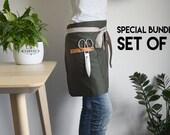 3 Delantales de jardinería. Delantal verde con aplicaciones de piel natural para floristas y jardinería.