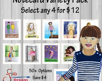 Whimsical Note cards w/ envelopes Variety Pack. Your choice of 4 inspirational greeting cards printed from drawings of kids and adults.
