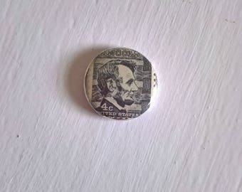 Abraham Lincoln Stamp Vintage Postage Pinback Button -- Retro Lapel American History President USA Civil War Histroy Buff Stocking Stuffer
