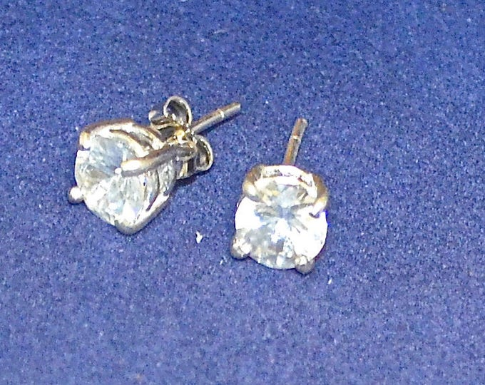 White Zircon Studs, 7mm Round, 2.89 ct., Natural, Set in Sterling Silver E1098