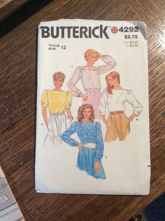 Vintage sewing pattern, Butterick 4292 1980's sewing pattern, super retro sewing pattern puffed shoulder sleeves blouse from the 80's