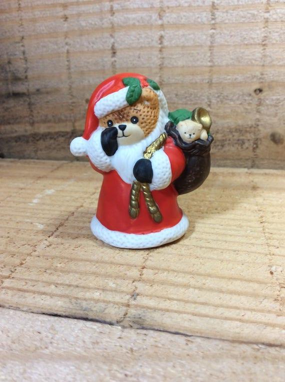 Vintage Lucy Rigg bear, Lucy Rigg Santa Bear, Santa Bear decor, Christmas decor, Lucy Rigg Collector, vintage 1987 Lucy Rigg Enesco bear