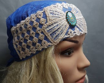 Blue Lycra Tichel, Ethnic Head Scarf, Snood, Chemo Cap, Ethnic Head Wrap, Headscarves, Hair Covering, Headwear, Women's Hats