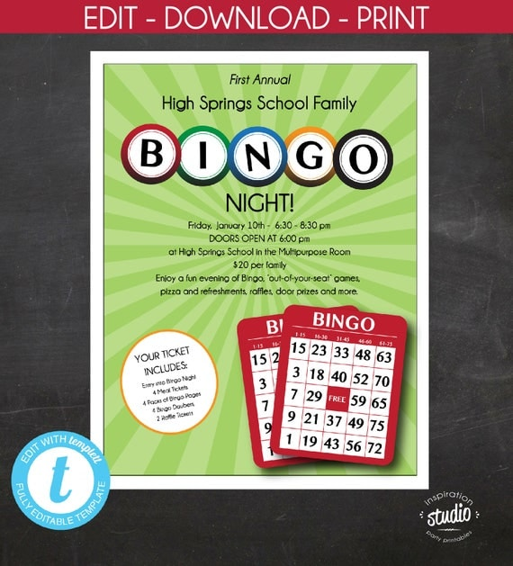 Bingo Night Flyer Family Night Mother And Son Night School Or