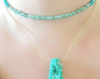 Green Mint Druzy Agate Chunk Gold Chain Pendant