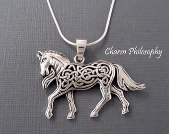 Celtic Horse Necklace - Celtic Knot Animal Jewelry - 925 Sterling Silver Jewelry - Large Horse Pendant
