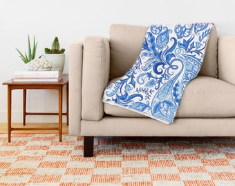Blankets and Throws, Ultra Soft Blue and White Paisley Throw Blanket - Blanket Throw - Available in 3 Sizes