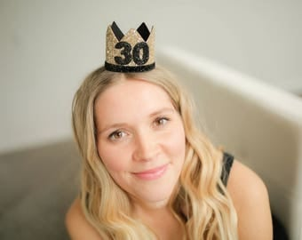 30th Birthday For Her || Dirty 30th Birthday || 30th Birthday Gift For Her || Adult 30th Party Hat || Gold 30th Birthday Crown Adult
