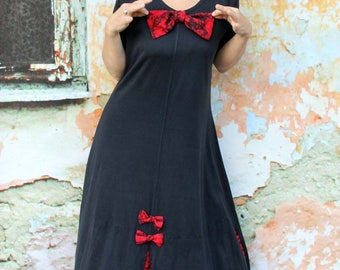 L Fantasy bow black and red  recycled dress tunic hippie boho