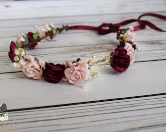Handcrafted Romantic Blush and Burgundy Adult Flower Crown - Bridal Flower Crown - Pearl and Rhinestone Flower Crown - Adult Headband - Rose