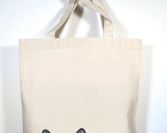 Cat, Cat Tote, Customized Shopping Bag, Personalized Black Cat Tote, School Bag, Cat Grocery Bag