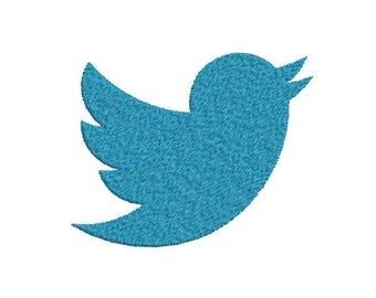 Machine Embroidery Design Instant Download - Twitter Bird Logo Symbol 1