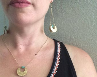 Tribal Talisman Jewelry Set, Chalcedony necklace and earrings
