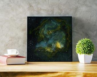 Blue Green Galaxy Art Print, 12x12  16x16  20x20  24x24, Unframed