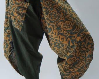 SR0253 Samurai pants with Unique Hilltribe fabric Wrap Around