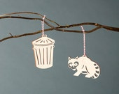 Raccoon and Trash Can Ornaments- Lasercut Birch (set of 2)