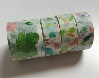 Set of 4 Washi Tapes - Floral Botanical Flowers Leafs - Green Pastel Colorful - Miss Time Washitape