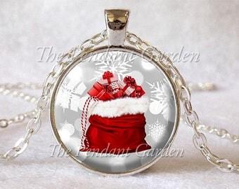 CHRISTMAS PENDANT Santa's Bag Pendant Christmas Necklace Santa Claus Jewelry Xmas Necklace Santa Claus Jewelry Fun Christmas Jewelry