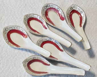 Six Chinese Soup Spoons Oriental Vintage Porcelain Restaurant Hand Painted