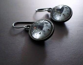 Swarovski Silver Night Sea Urchin Earrings - Black Metal Alternative Jewelry - Sleek Monochrome Unique Gift - Hypoallergenic Niobium