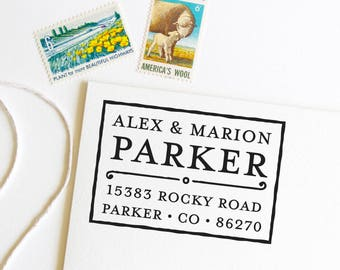 Return address stamp for couples last name, first and last names, self inking stamp, rubber stamp wood handle