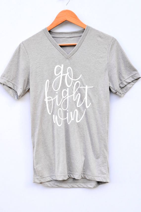 Go Fight Win V-neck Tee - gray
