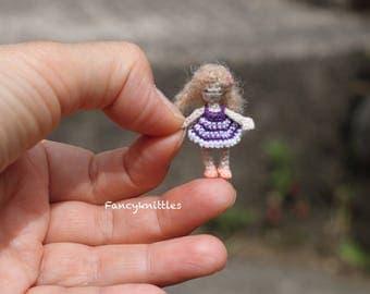 Micro miniature cute crochet art doll dollhouse nursery decor collectible curly blond fairy tiny tot 1 inch scale toy box amigurumi gift