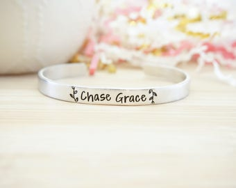 Chase Grace Cuff Bracelet - Bible Jewelry - Religious Jewelry - Religious Bracelet - Faith Jewelry - Silver Hand Stamped Cuff