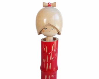 Gorgeous Bamboo Themed Vintage Kokeshi Doll by Award Winning Artist. Japanese doll. Sosaku Kokeshi. Japanese Kokeshi. Hair Ribbon. Wood Doll