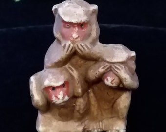 See No Evil, 3 Wise Monkey's, See no evil, hear no evil, speak no evil, Findings, Fun to add to a collection  #2438