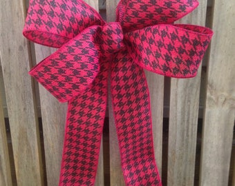 Wreath Bow Houndstooth Red Black fall winter bows, wrapping package decoration, mantel, buffet table decor wired ribbon country theme
