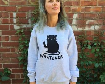 Whatever cat grey crewneck - Cat sweater - Lovestruck prints